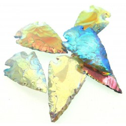 Hand Knapped Aura Quartz Gemstone Arrowhead