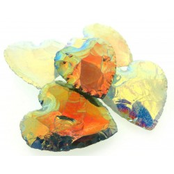 Hand Knapped Aura Quartz Gemstone Heart