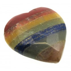Carved Seven Chakra Gemstone Heart