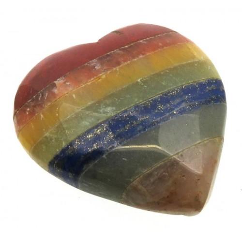 Carved Seven Chakra Gemstone Heart