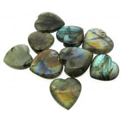 Single Labradorite Carved Puff Heart 22mm to 26mm