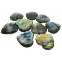 Single Labradorite Carved Puff Heart 32mm to 39mm