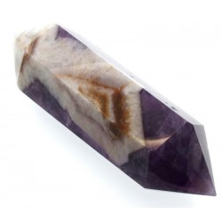 Chevron Amethyst Gemstone Double Terminated Wand 07