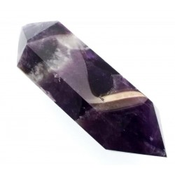 Chevron Amethyst Gemstone Double Terminated Wand 09