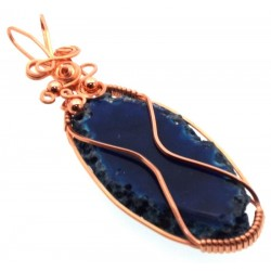 Indian Agate Slice Copper Wire Wrapped Pendant 14