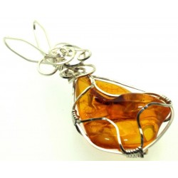 Baltic Amber Sterling Silver Wire Wrapped Pendant 01