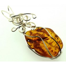 Baltic Amber Sterling Silver Wire Wrapped Pendant 02