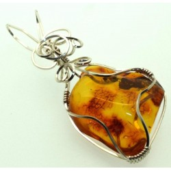 Baltic Amber Sterling Silver Wire Wrapped Pendant 03