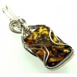 Baltic Amber Sterling Silver Wire Wrapped Pendant 05
