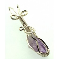 Amethyst Vera Cruz Gemstone Silver Plated Wire Wrapped Pendant 02