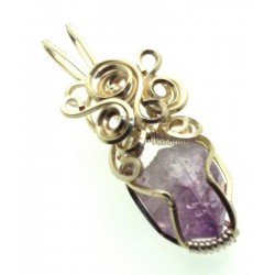 Amethyst Vera Cruz Gemstone Silver Plated Wire Wrapped Pendant 04