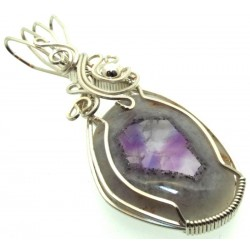 Tripache Star Amethyst Stalactite Sterling Silver Wire Wrapped Pendant 03