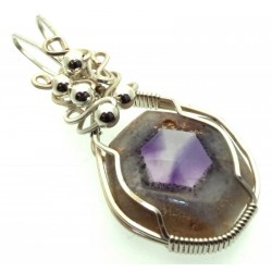Tripache Star Amethyst Stalactite Sterling Silver Wire Wrapped Pendant 05