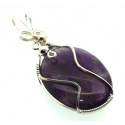 Amethyst Gemstone Silver Filled Wire Wrapped Pendant 02
