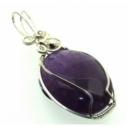 Amethyst Gemstone Silver Filled Wire Wrapped Pendant 04