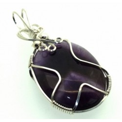 Amethyst Gemstone Silver Filled Wire Wrapped Pendant 09