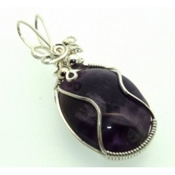Amethyst Gemstone Silver Filled Wire Wrapped Pendant 11