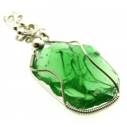 Emerald Green Andara Sterling Silver Wire Wrapped Pendant 494