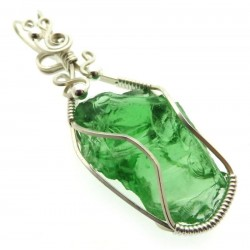 Emerald Green Andara Sterling Silver Wire Wrapped Pendant 495