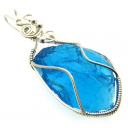 Sapphire Blue Andara Sterling Silver Wire Wrapped Pendant 496
