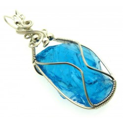 Sapphire Blue Andara Sterling Silver Wire Wrapped Pendant 497
