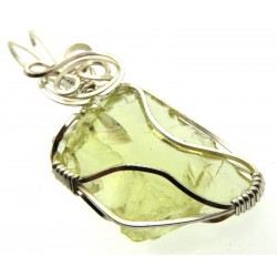 Lemurian Gold Andara Silver Plated Wire Wrapped Pendant 371
