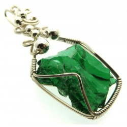 Emerald Green Andara Silver Plated Wire Wrapped Pendant 406