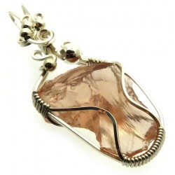 Venus Pink Andara Silver Filled Wire Wrapped Pendant 420