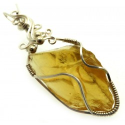 Lemurian Gold Andara Silver Filled Wire Wrapped Pendant 430