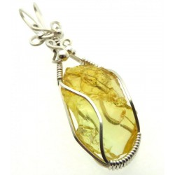Lemurian Gold Andara Sterling Silver Wire Wrapped Pendant 484