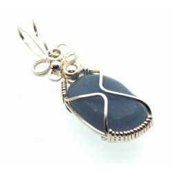 Angelite Gemstone Silver Filled Wire Wrapped Pendant 03