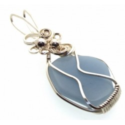 Angelite Gemstone Silver Filled Wire Wrapped Pendant 05