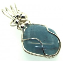 Aquamarine Sterling Silver Wire Wrapped Pendant 05