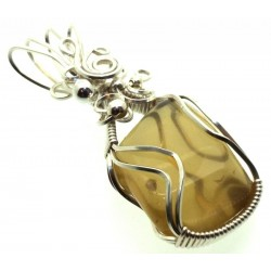 Whiskey Quartz Sterling Silver Wire Wrapped Pendant 02