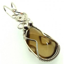 Whiskey Quartz Sterling Silver Wire Wrapped Pendant 04