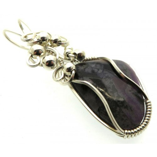 Sugilite Gemstone Sterling Silver Wire Wrapped Pendant 02