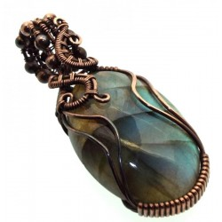 Labradorite Gemstone Copper Wire Weave Pendant 19