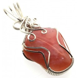 Pink Opal Sterling Silver Wire Wrapped Pendant 02
