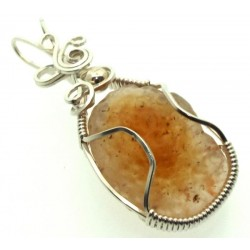 Mongolian Desert Gobi Agate Sterling Silver Wire Wrapped Pendant 02