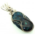 Azurite and Chrysocolla Sterling Silver Wire Wrapped Pendant 01