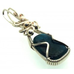 Apatite Gemstone Sterling Silver Wire Wrapped Pendant 03