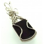 Sugilite Gemstone Sterling Silver Wire Wrapped Pendant 03