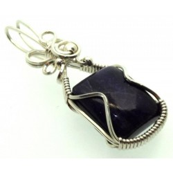Sugilite Gemstone Sterling Silver Wire Wrapped Pendant 04