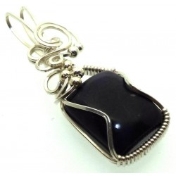 Sugilite Gemstone Sterling Silver Wire Wrapped Pendant 05