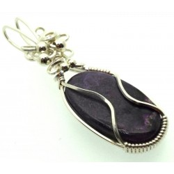 Sugilite Gemstone Sterling Silver Wire Wrapped Pendant 06