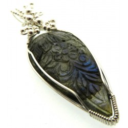 Hand Carved Labradorite Gemstone Sterling Silver Wire Wrapped Pendant 01