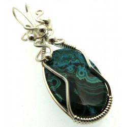 Chrysocolla Sterling Silver Wire Wrapped Pendant 02