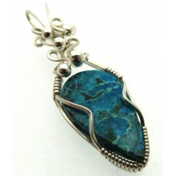 Chrysocolla Sterling Silver Wire Wrapped Pendant 03