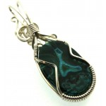 Chrysocolla Sterling Silver Wire Wrapped Pendant 04