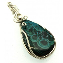 Chrysocolla Sterling Silver Wire Wrapped Pendant 05